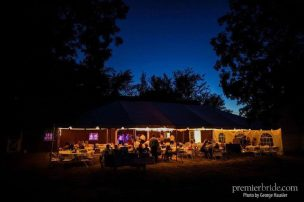 Rustic barn wedding with white lights