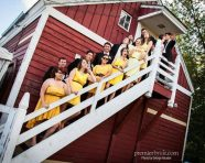 Wedding party posing on the steps of a barn