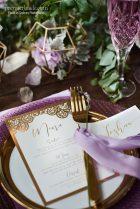 Gold boho reception dinner menu card