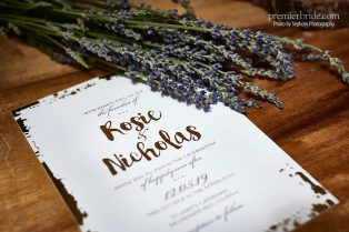Gold and lavender wedding invitations