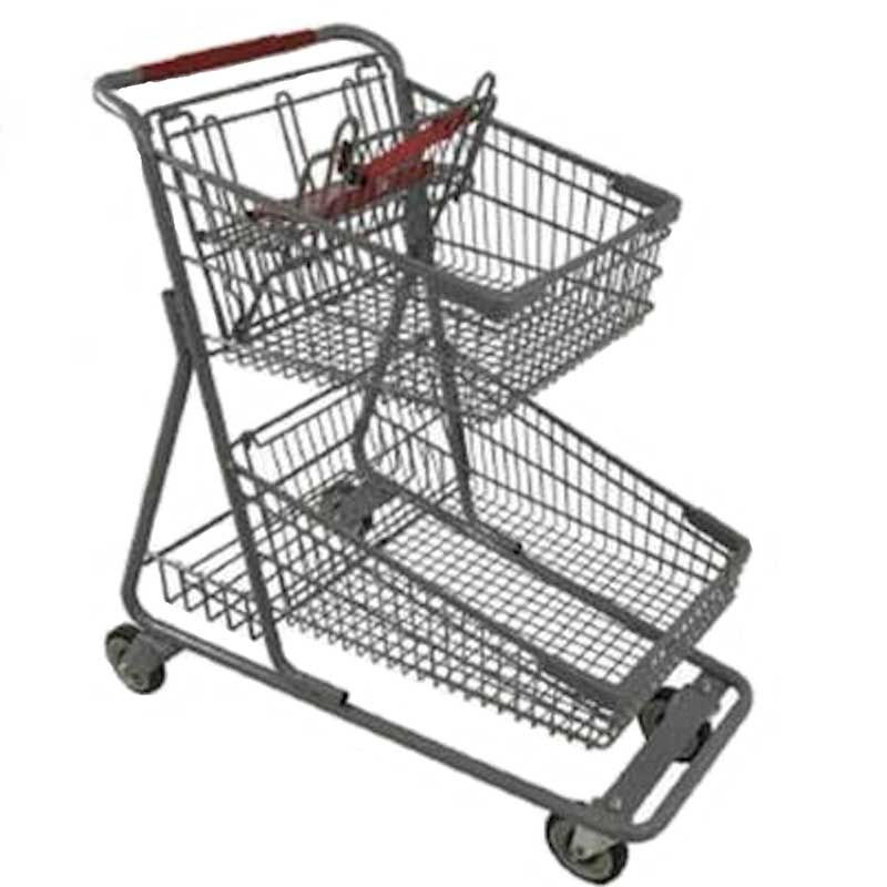Model 090 Two Basket Large Grocery Shopping Cart with