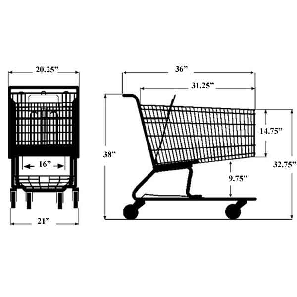 Model 200 Medium Wire Metal Grocery Shopping Cart