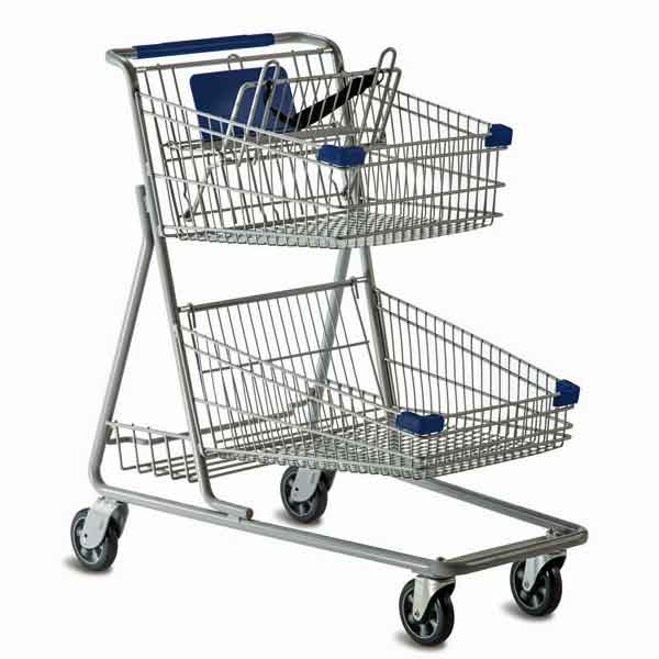 Model 5640 Large Two Basket Shopping Cart with lower back