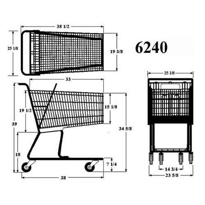 Model 6240 Large Wire Metal Grocery Shopping Cart