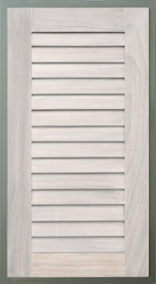 Wood Frame with Louver White Wash