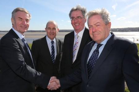 Mersey Gateway Project - Steve Walsh of Merseylink, Cllr Rob Polhill Leader Halton Borough Council, Hugh O'Connor of Merseylink, and Steve Nicholson Mersey Gateway project director.