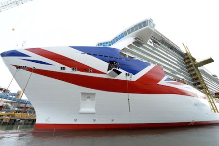 BRITANNIA MOVES ONTO THE WATER FOR THE VERY FIRST TIME WITH HER UNION JACK PAINTED ON HER HULL, MONFALCONE, ITALY