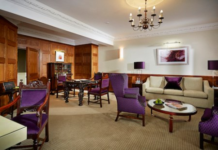 Pennyhill Park Luxury Hotel & Spa , Lounge on the lower floor of the Apartment Begonia, of lush Greenland, Surrey