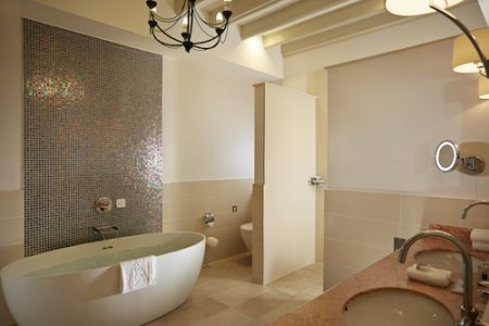 Pennyhill Park Luxury Hotel & Spa , The Bathroom in Begonia, lush Greenland, Surrey