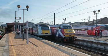 An Historic 1977 Line-Up Of Trains At York Station Has Been Re-Created To Mark The Evolution Of Express Rail Travel On The East Coast Main Line Ahead Of The New Virgin Azuma (Class 800) Coming Into Service In 2018