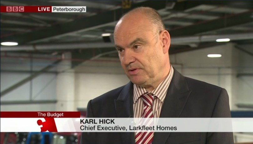 Larkfleet Welcomes Budget Changes For Housing - And Gets National TV Coverage