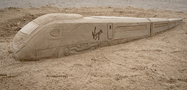 Virgin Trains Builds Pendolino Sand Sculpture Ahead of Train's Historic First Visit to Blackpool