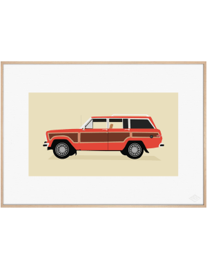 Jeep Grand Wagoneer, Red Edition art print. Premiere Base