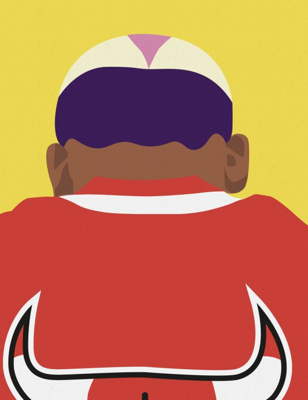 Dennis Rodman Bulls Head art print. Premiere Base