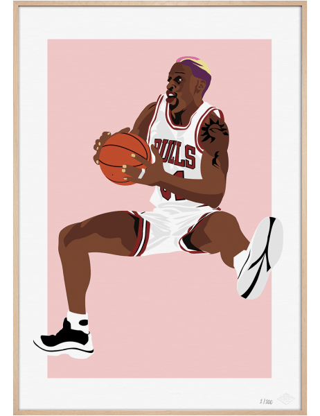Dennis Rodman Bulls art print. Premiere Base