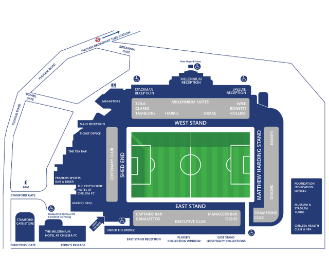 Stamford Bridge Stadium Map