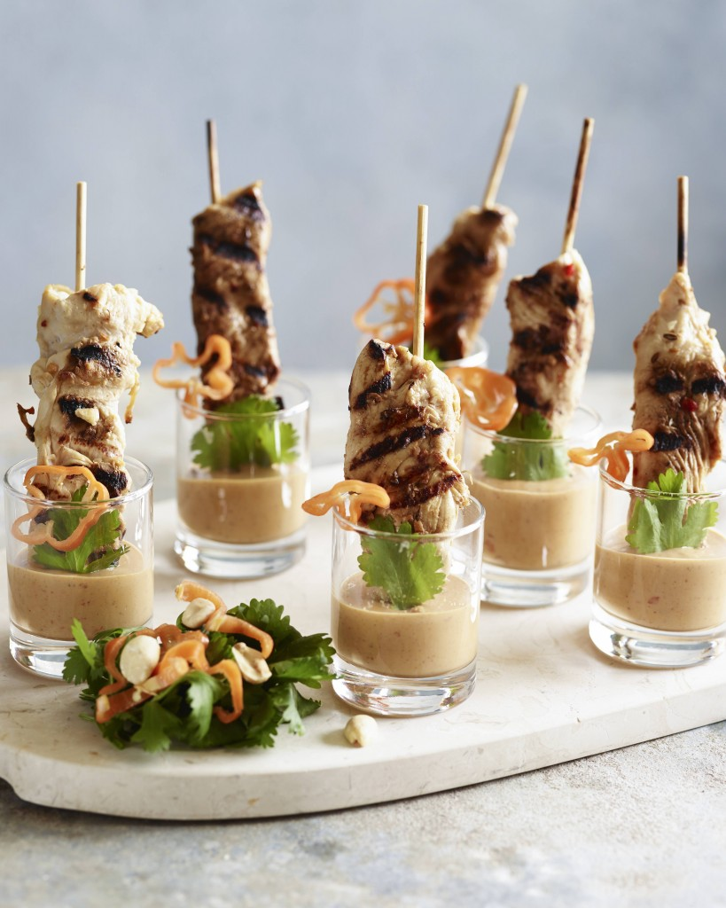 Make these chicken satay shots for your next party appetizers! Free range chicken has never been better.
