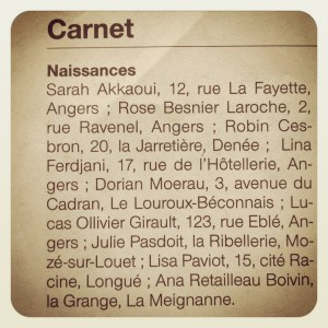 Article de presse indiquant la naissance de Saraf (Ouest-France, 9 juin 2012) - la naissance de Sarah a eu lieu le 5