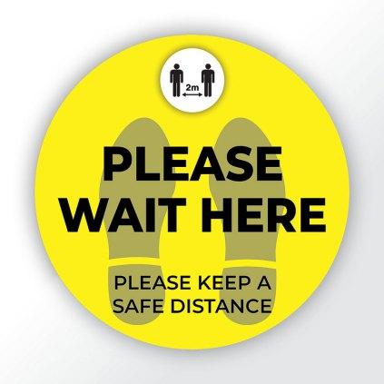 Covid-19 Please Wait Here Floor Sticker