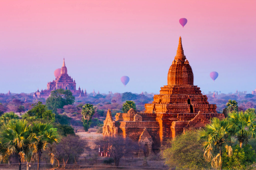 Hot air balloons flying over the temples in Myanmar.