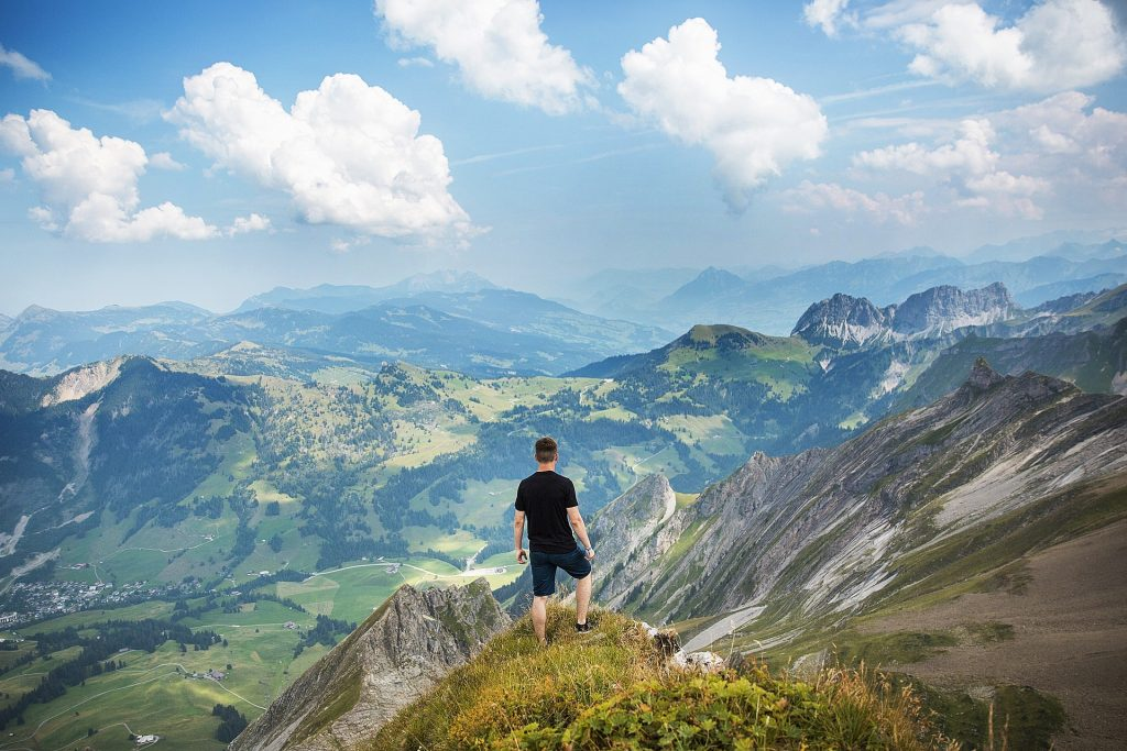 A person hiking up a mountain