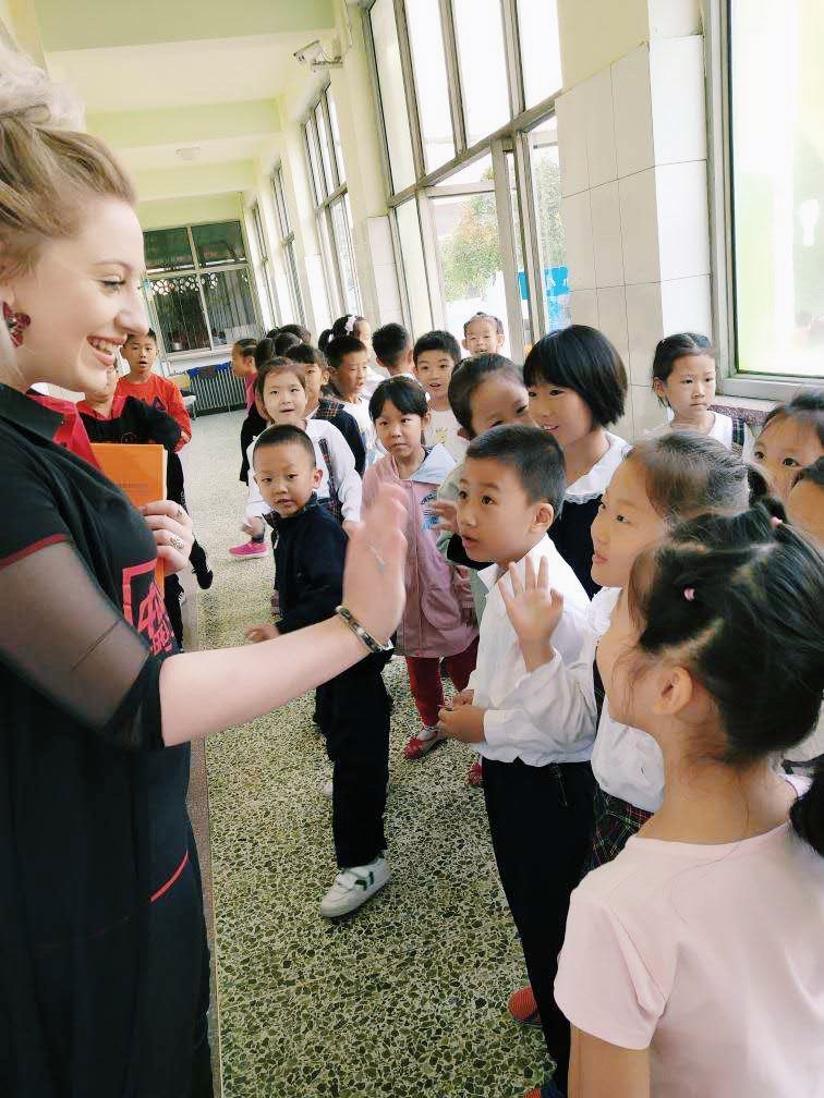 Alice with students.