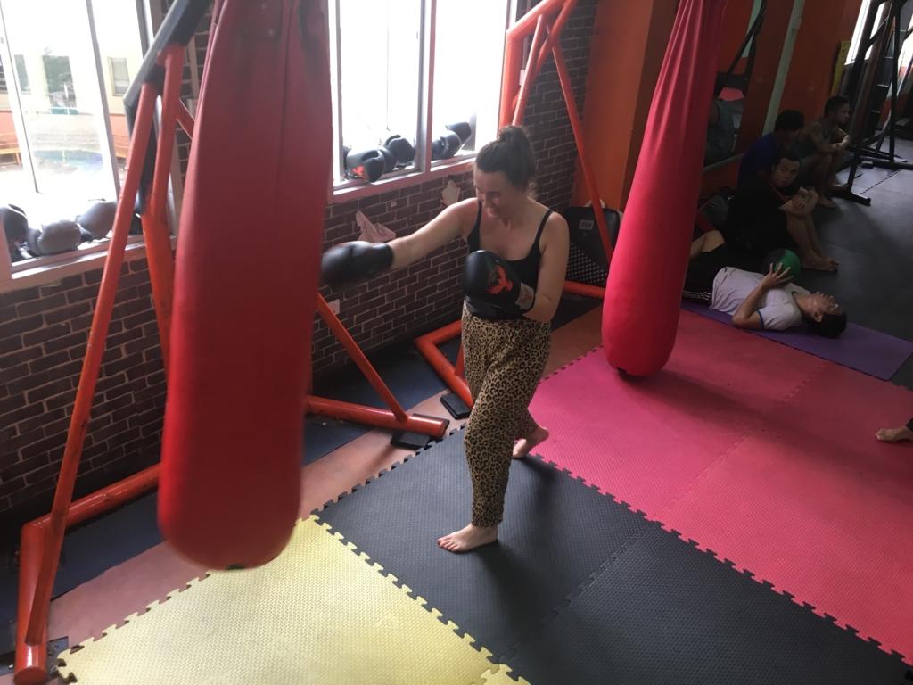 Sarah learning kickboxing