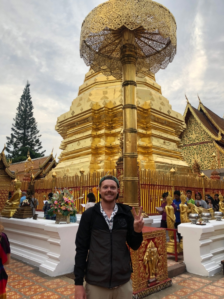 Sean visiting the golden buildings