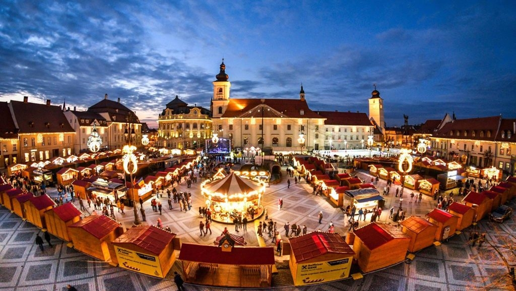 A Romanian town fair in progress.