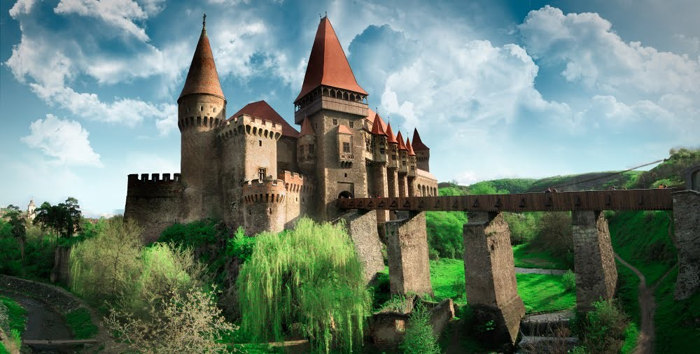 Romanian castle that looks like something from a fairy-tale story.