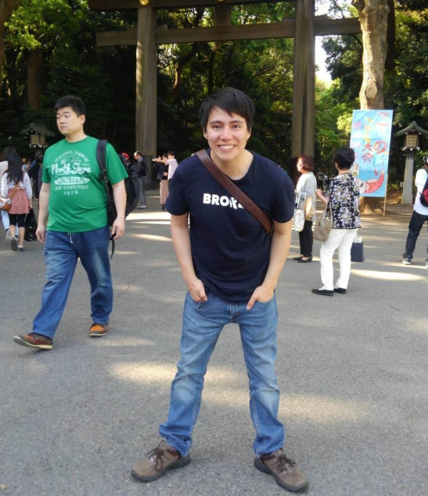 Erick visiting Japan's tourist spots