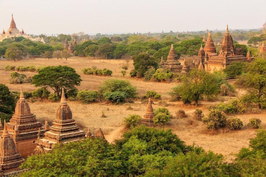 Myanmar, temples in desert, forest