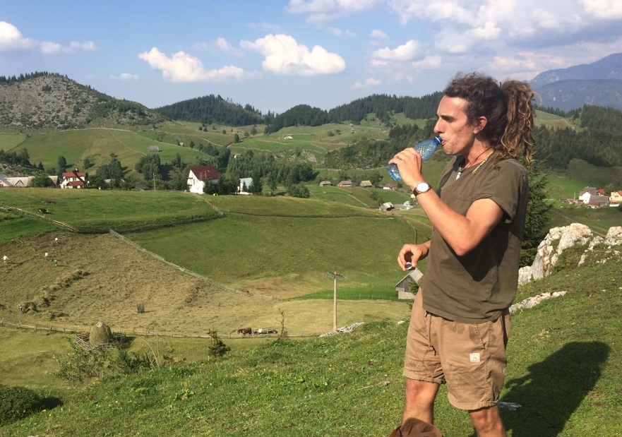 Marcus taking in the view of the Romanian countryside.