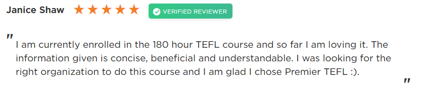 Janice 180 - Our Favourite Premier TEFL Reviews of 2019 (so far)