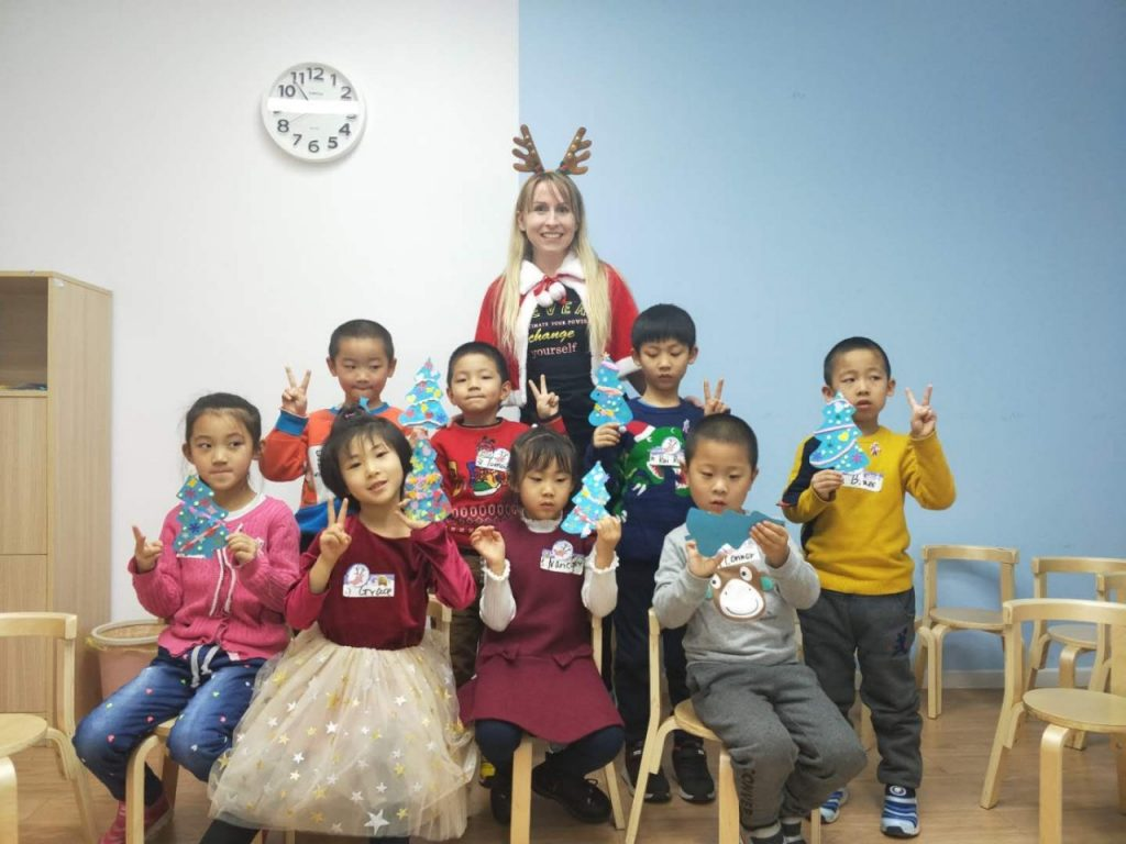 Tetiana with her students in class