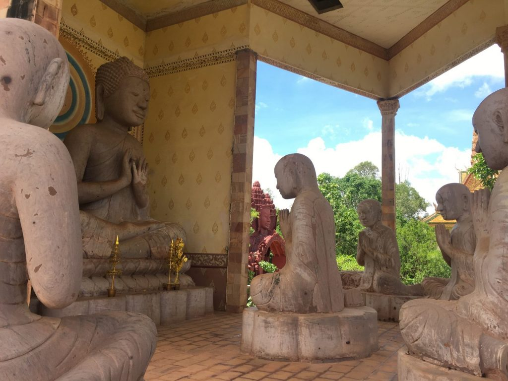 Buddhist statues inside a temple