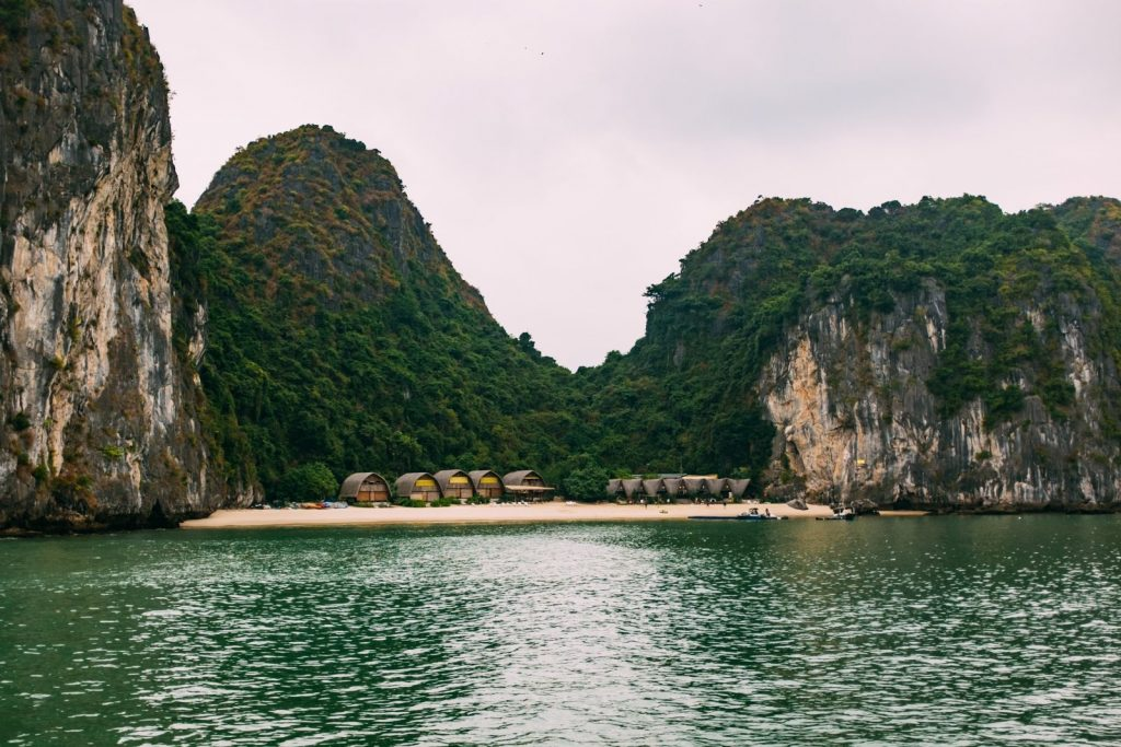 Cottages on an island in Vietnam