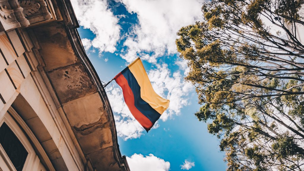 Colombian flag waving