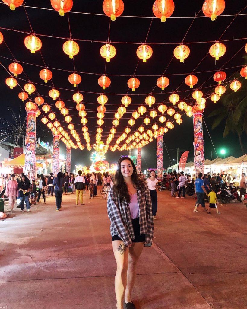 Taryn under lanterns at Loi Krathong