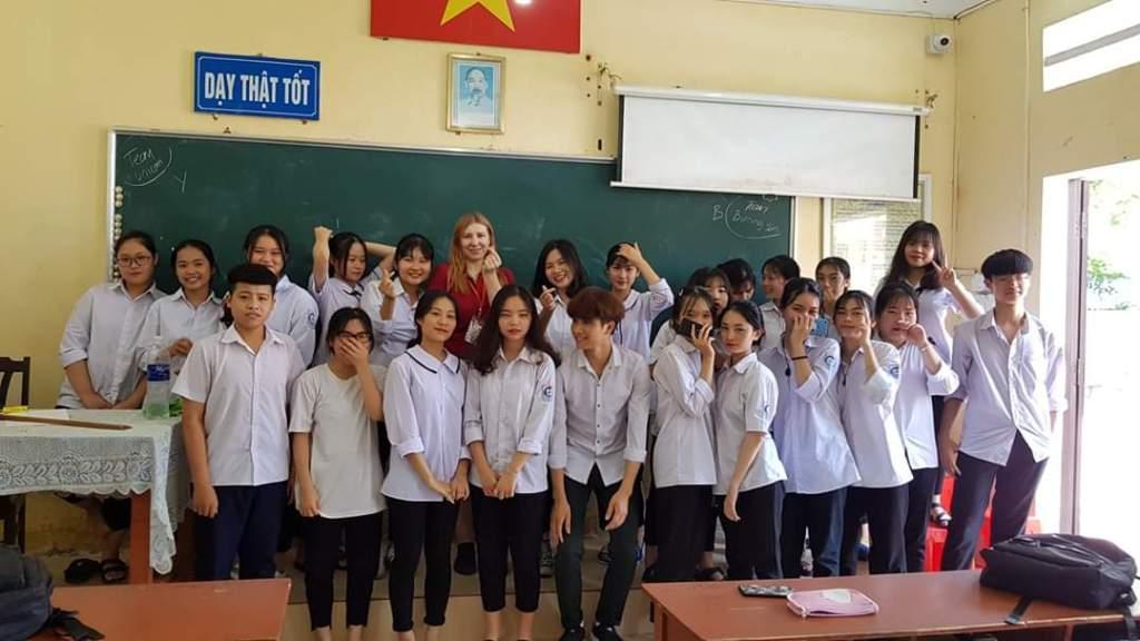 Martha with her TEFL class