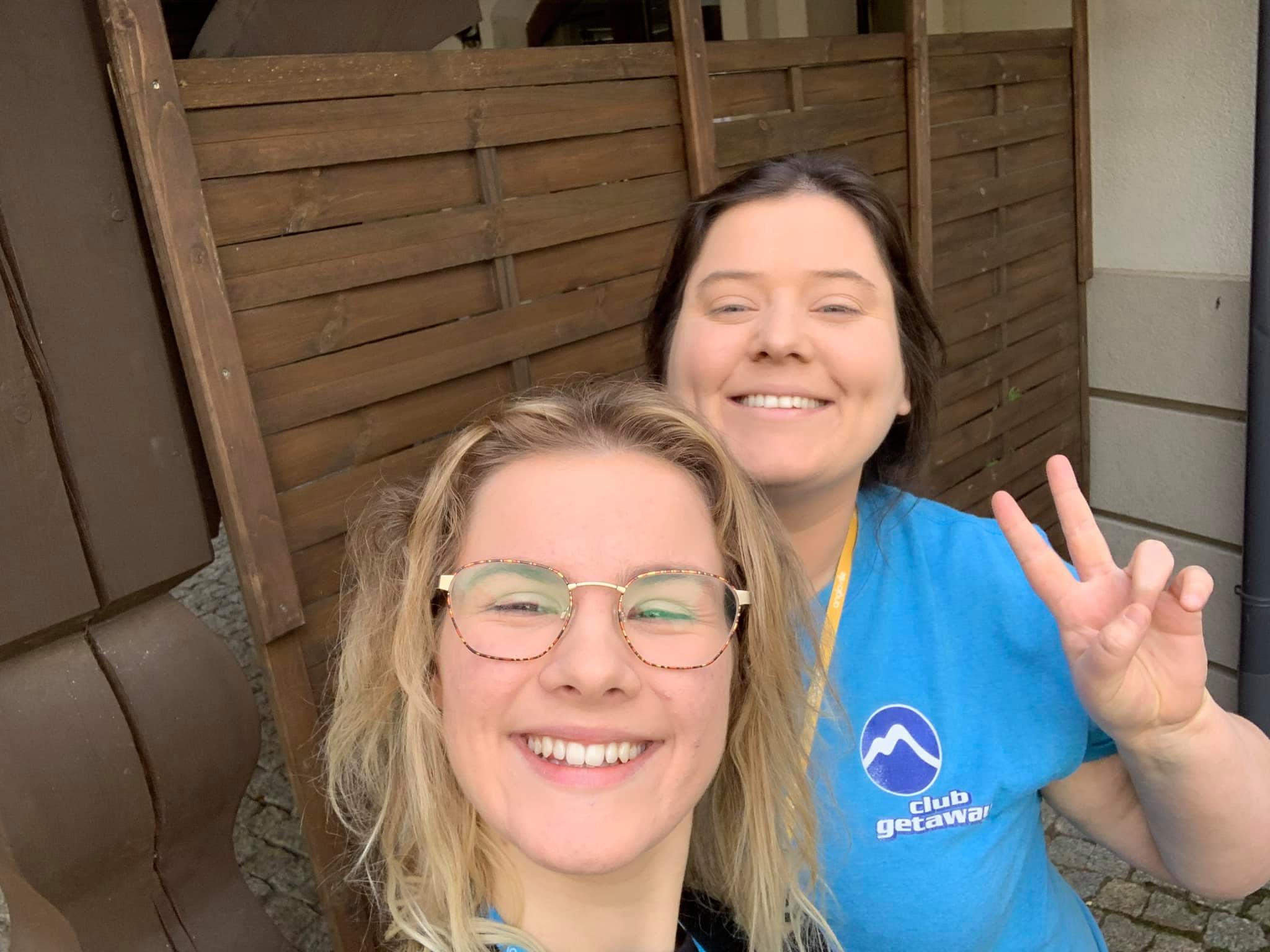 Mairead with her fellow teacher Anastasia teaching English in Europe