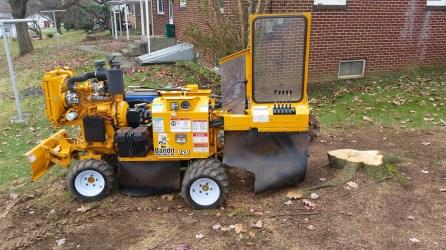 Stump grinding machine ready to go
