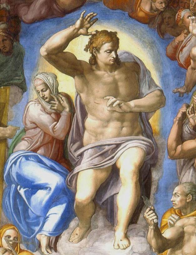 """Cristo giudice e Maria - particolare del """"Giudizio Universale"""" Michelangelo 1535-1541"""