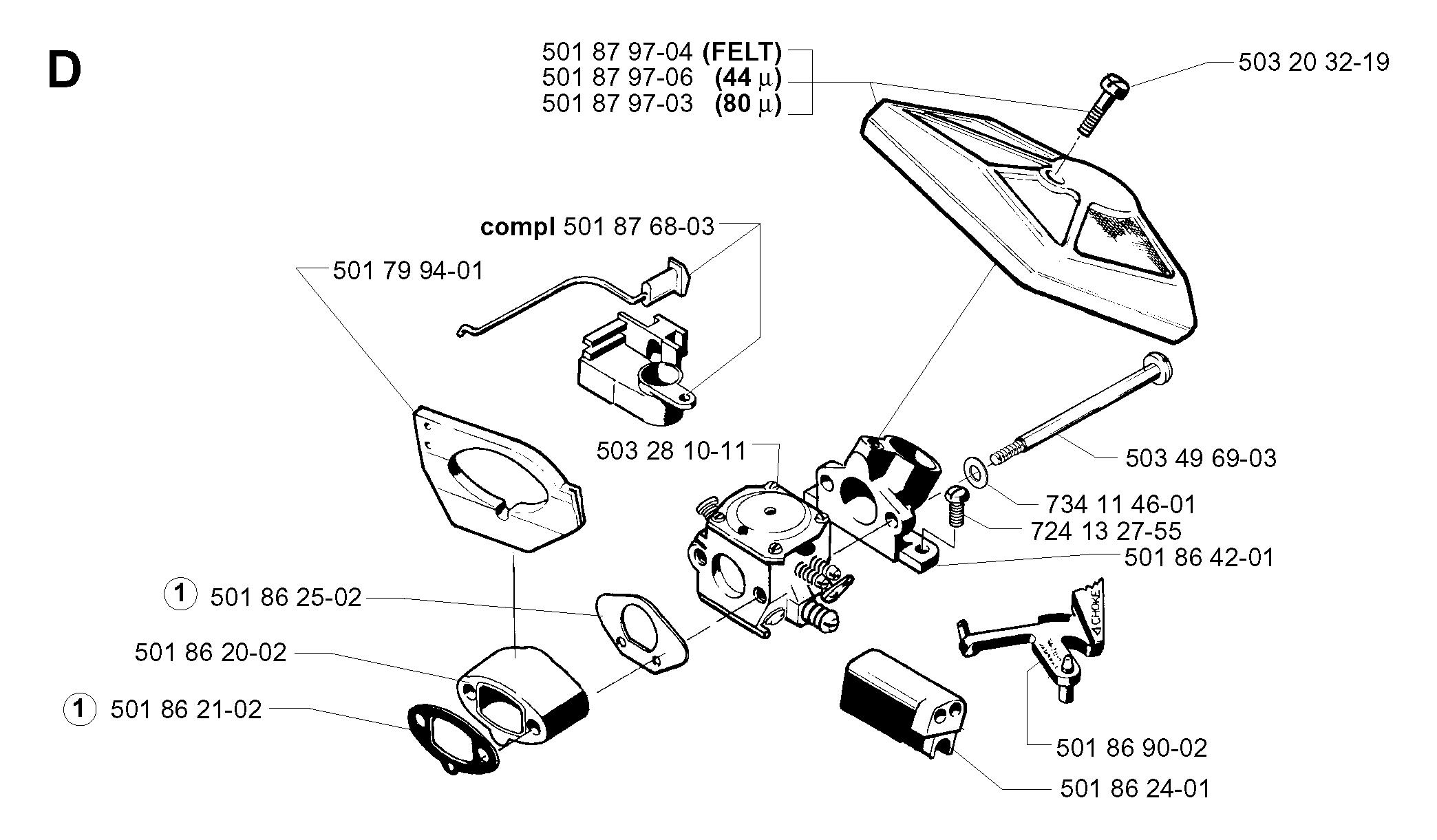 Карбюратор и воздушный фильтр для бензопилы Husqvarna 254