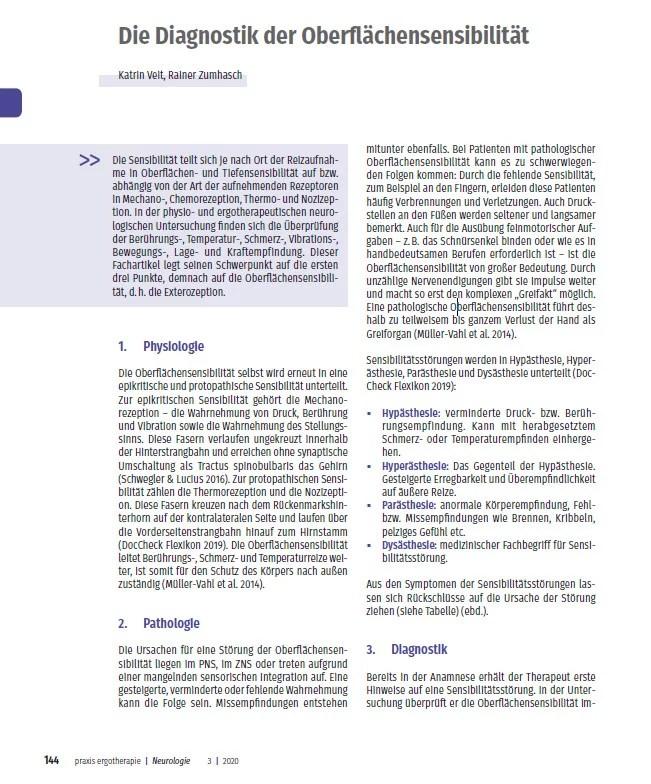 Diagnostik der Oberflächensensibilität