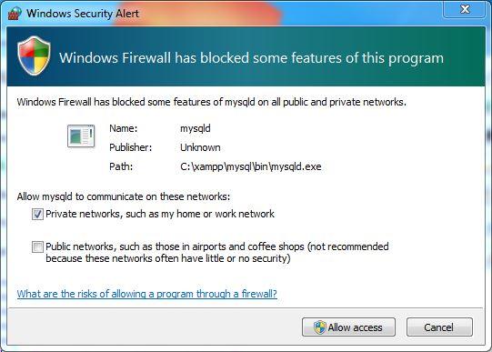 XAMPP firewall and security