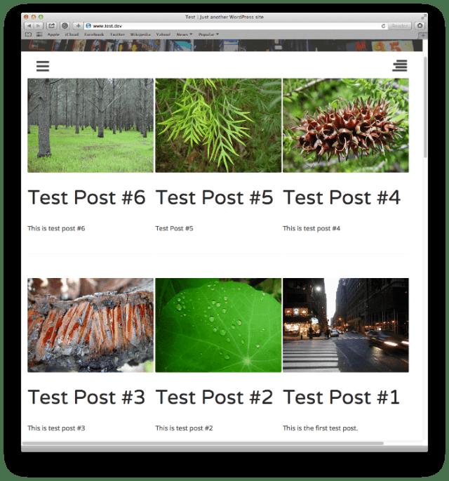 Screenshot of post listings using grid styling