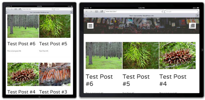 Grid layout on an iPad in both portrait and landscape