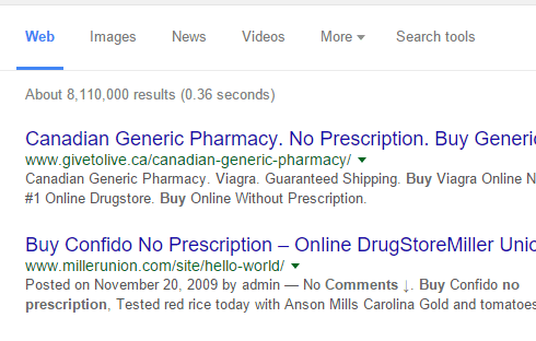A Google search of a site that produces spam that's visible with your site link.