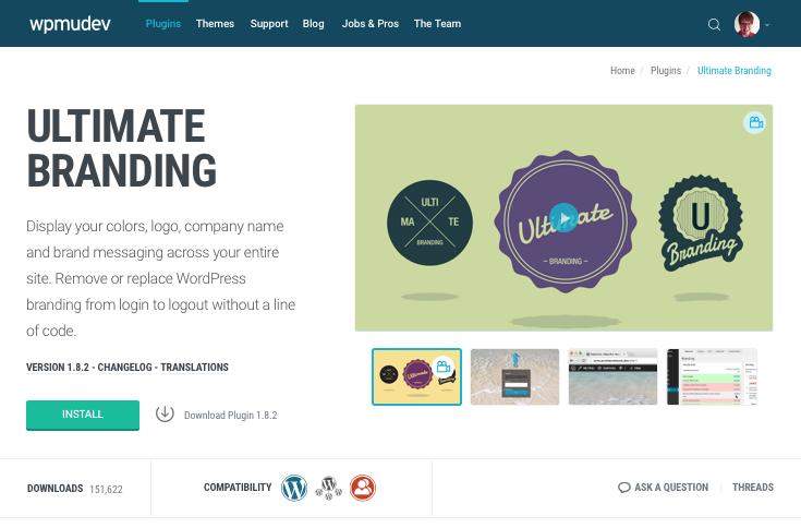 Ultime Branding plugin page